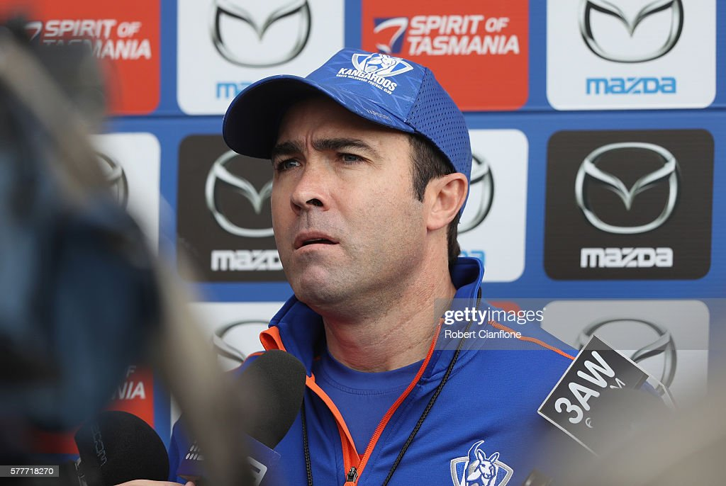Kangaroos coach Brad Scott speaks to the media during a North Melbourne Kangaroos AFL training session at Arden Street Ground on July 20 2016 in...