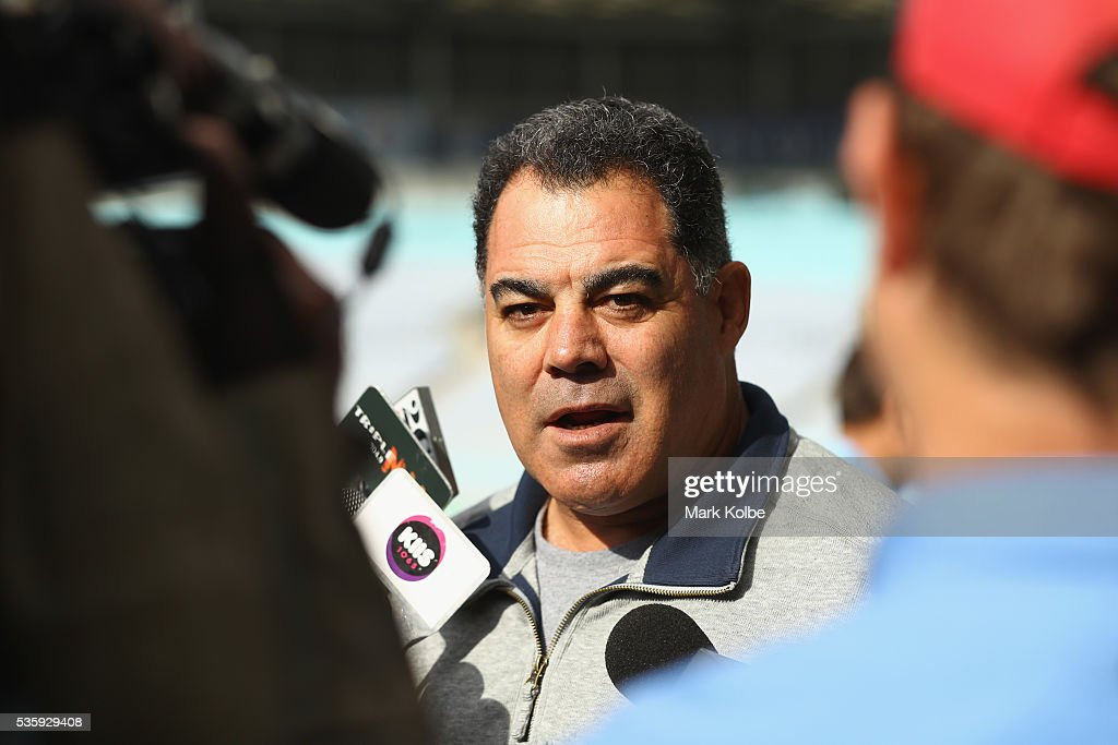 Kangaroos coach <a gi-track='captionPersonalityLinkClicked' href=/galleries/search?phrase=Mal+Meninga&family=editorial&specificpeople=553339 ng-click='$event.stopPropagation()'>Mal Meninga</a> speaks to the media during the New South Wales State of Origin captain's run at ANZ Stadium on May 31, 2016 in Sydney, Australia.
