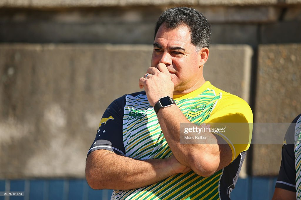 Kangaroos coach <a gi-track='captionPersonalityLinkClicked' href=/galleries/search?phrase=Mal+Meninga&family=editorial&specificpeople=553339 ng-click='$event.stopPropagation()'>Mal Meninga</a> watches on during the Australia Kangaroos Test team recovery session at Coogee Beach on May 2, 2016 in Sydney, Australia.