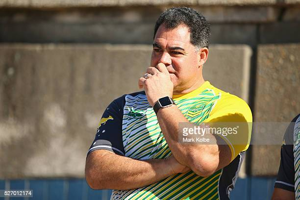 Kangaroos coach Mal Meninga watches on during the Australia Kangaroos Test team recovery session at Coogee Beach on May 2 2016 in Sydney Australia