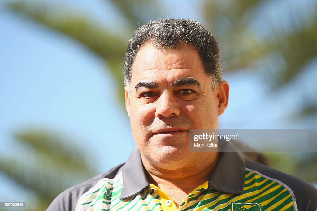 Kangaroos coach <a gi-track='captionPersonalityLinkClicked' href=/galleries/search?phrase=Mal+Meninga&family=editorial&specificpeople=553339 ng-click='$event.stopPropagation()'>Mal Meninga</a> watches on during the Australia Kangaroos Test team photo session at Crowne Plaza Coogee on May 2, 2016 in Sydney, Australia.