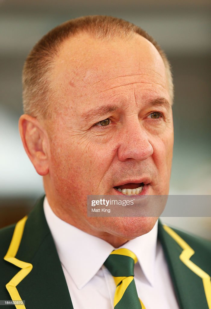 Kangaroos coach <a gi-track='captionPersonalityLinkClicked' href=/galleries/search?phrase=Tim+Sheens&family=editorial&specificpeople=608579 ng-click='$event.stopPropagation()'>Tim Sheens</a> speaks to the media during an Australian Kangaroos Rugby League World Cup teamphoto session at Crowne Plaza, Coogee on October 14, 2013 in Sydney, Australia.