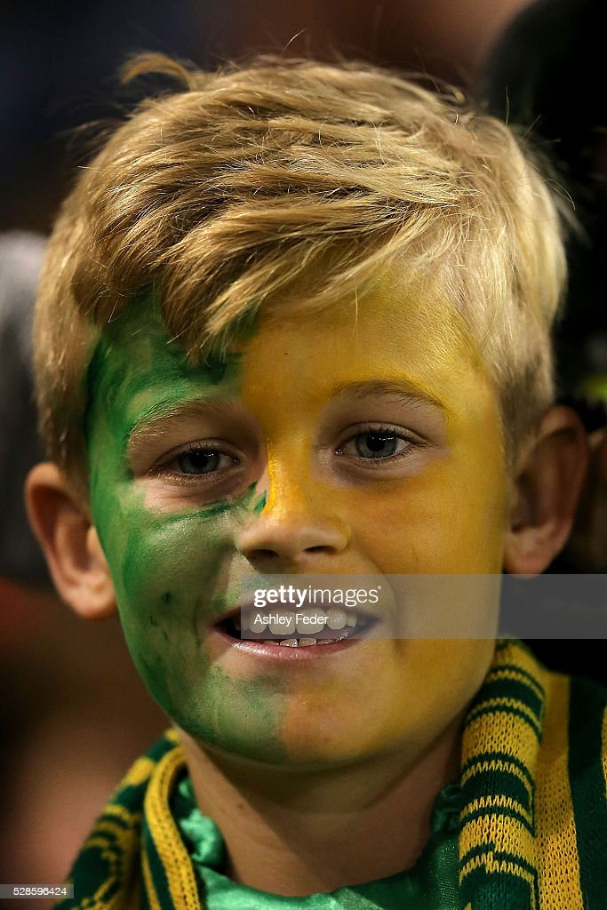 A Kangaroos fan shows their support during the International Rugby League Trans Tasman Test match between the Australian Kangaroos and the New Zealand Kiwis at Hunter Stadium on May 6, 2016 in Newcastle, Australia.