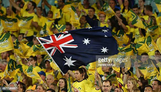 Kangaroos fans show their support during the ANZAC Test match between the Australian Kangaroos and the New Zealand Kiwis at Allianz Stadium on May 2...