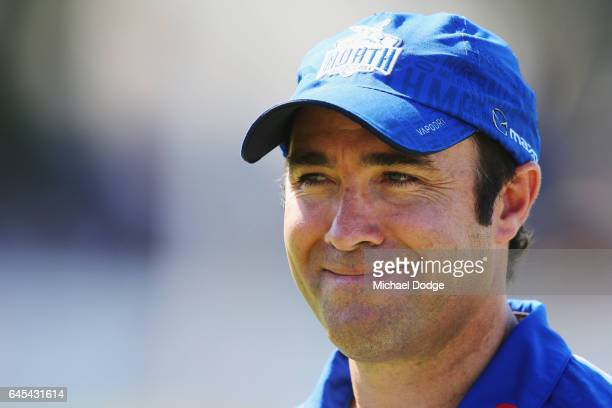 Kangaroos head coach Brad Scott during the JLT Community Series AFL match between the North Melbourne Kangaroos and the Hawthorn Hawks at Arden...
