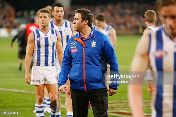 Kangaroos head coach Brad Scott looks on after the AFL 1st Elimination Final match between the Adelaide Crows and the North Melbourne Kangaroos at...