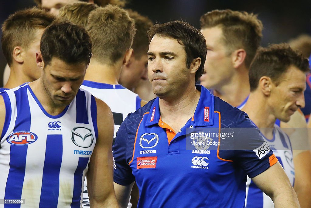 Kangaroos head coach Brad Scott walks off at three quarter time during the round one AFL match between the North Melbourne Kangaroos and the Adelaide...