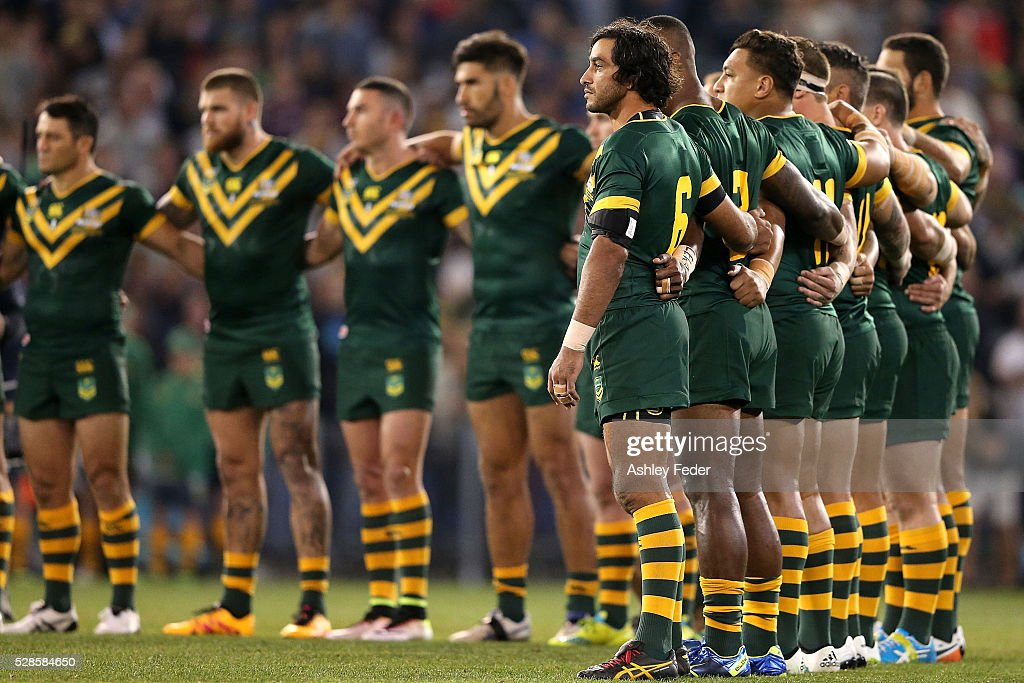 Kangaroos team line up during the International Rugby League Trans Tasman Test match between the Australian Kangaroos and the New Zealand Kiwis at Hunter Stadium on May 6, 2016 in Newcastle, Australia.