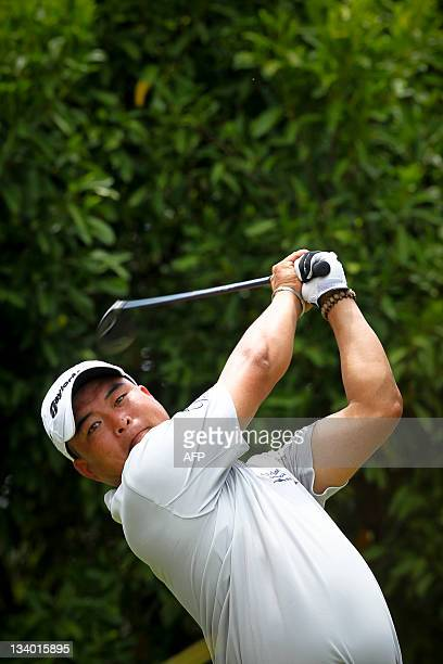 Kangchun Wu of China plays a shot during round one of the Australian PGA golf tournament in Coolum on November 24 2011 The Australian PGA golf...