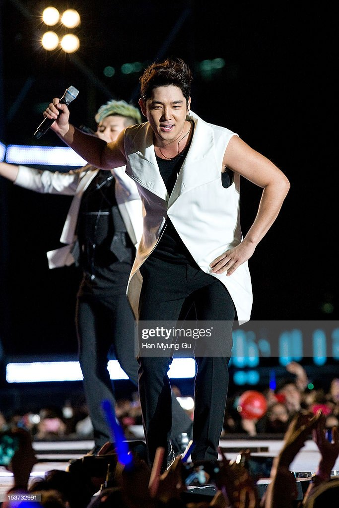 Kangin of South Korean boy band <a gi-track='captionPersonalityLinkClicked' href=/galleries/search?phrase=Super+Junior&family=editorial&specificpeople=561135 ng-click='$event.stopPropagation()'>Super Junior</a> performs onstage during the 2012 Gangnam Festival on October 7, 2012 in Seoul, South Korea.