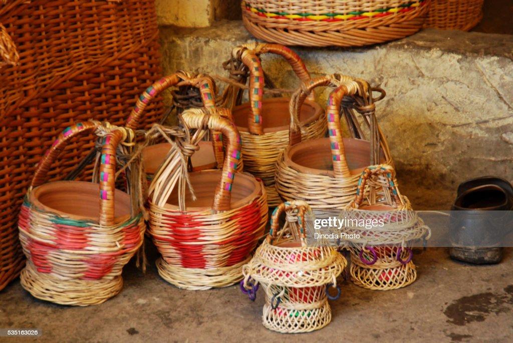 Kangri portable heaters in a cane workshop outside The Hazratbal Shrine in Srinagar, Jammu and Kashmir, India.