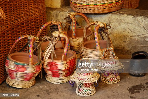 Kangri portable heaters in a cane workshop outside The Hazratbal Shrine in Srinagar, Jammu and Kashmir, India.