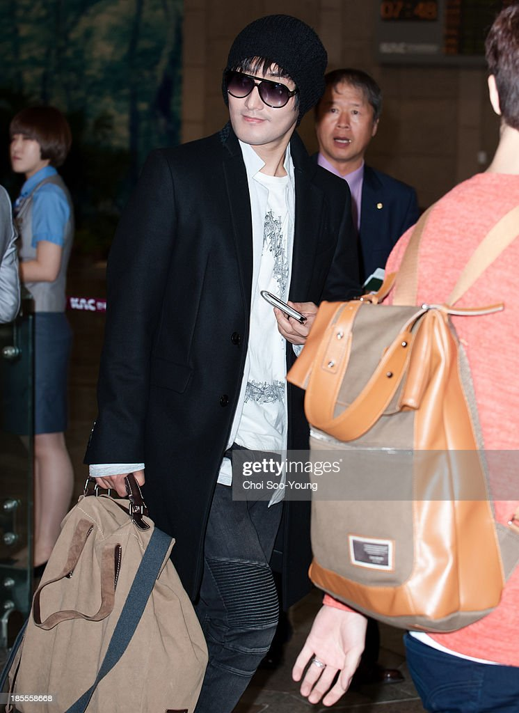 Kangta is seen at Gimpo International Airport on October 18, 2013 in Seoul, South Korea.