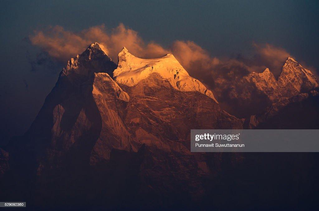 Kangtega mountain peak at sunset, Everest region