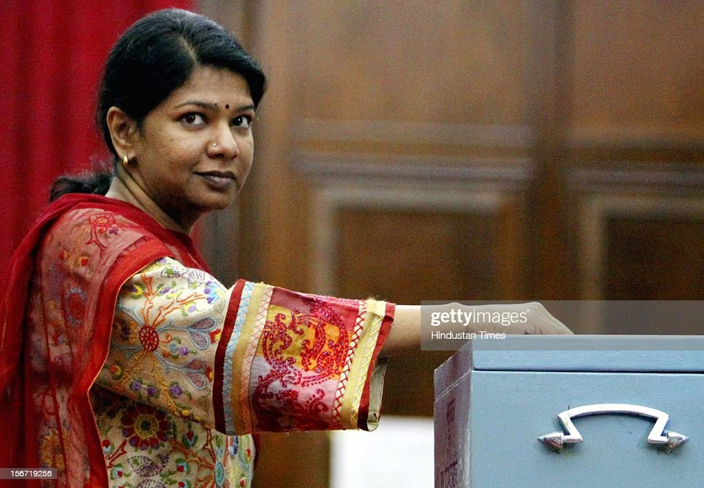 'NEW DELHI, INDIA - AUGUST 07:DMK MP Kanimozhi casting vote for the election of Vice President at Parliament house on August 7, 2012 in New Delhi, India. (Photo by Sunil Saxena/Hindustan Times via Getty Images)'