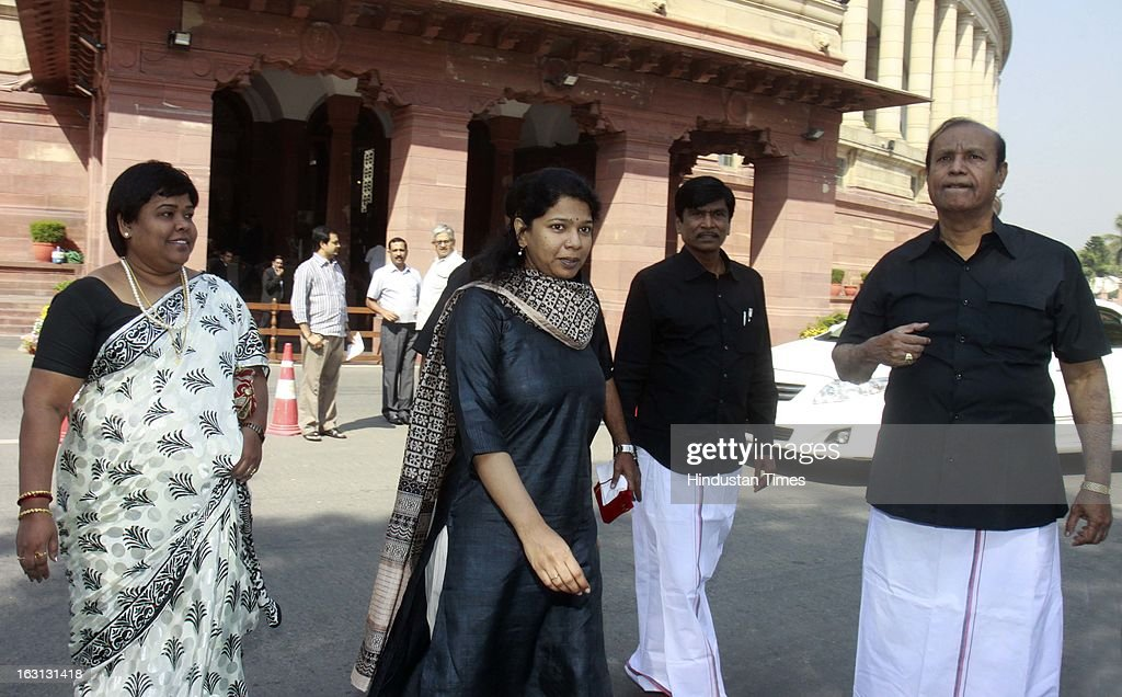 Kanimozhi wearing black dress during a protest against Sri Lankan President Mahinda Rajapaksa as they condemn the killing of Tamilians in Sri Lanka at Parliament House on March 5, 2013 in New Delhi, India. Both houses of Parliament were adjourned till noon after opposition parties raised various issues including the killing of a police officer in Uttar Pradesh and protests over the alleged killing of slain LTTE chief Prabhakaran's son in custody by Sri Lankan forces.