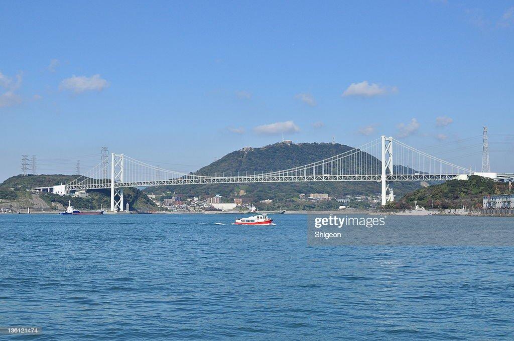 Kan-mon Bridge and sightseeing boat