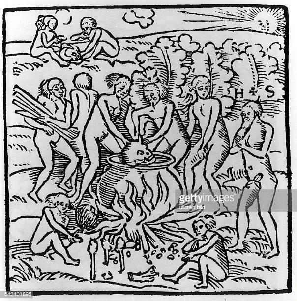Kannibalismus bei den Tupinambas derbrasilianischen NordostküstenregionHolzschnitt aus 'Wahrhaftige Historia'des Hans Staden Marburg 1557