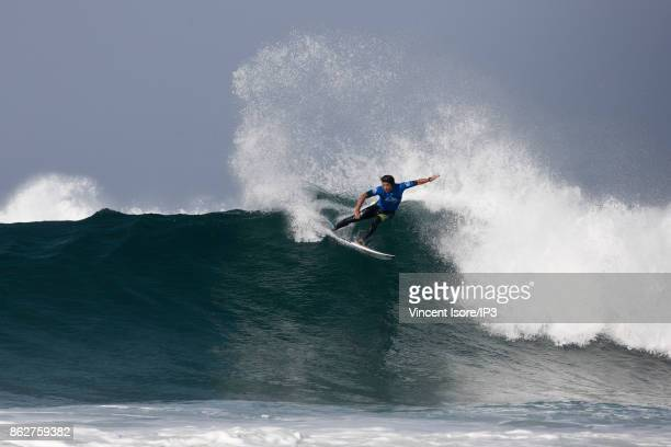 Kanoa Igarashi from US performs during the Quicksilver Pro France surf competition on October 12 2017 in Hossegor France he French stage of the World...