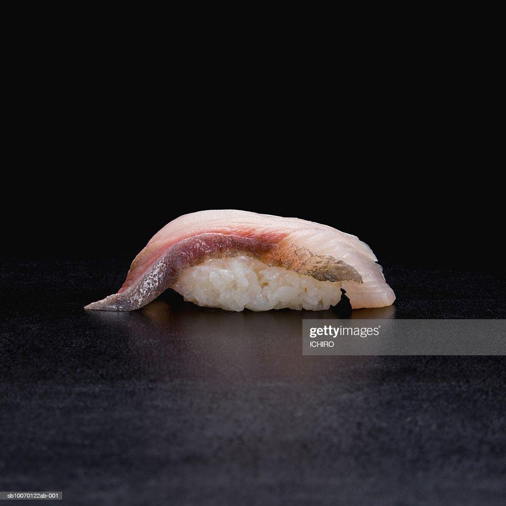 Kanpachi Nigiri Sushi on black background : Stock Photo