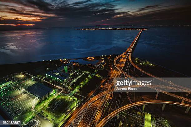 Kansai Airport Highways Aerial view at sunset