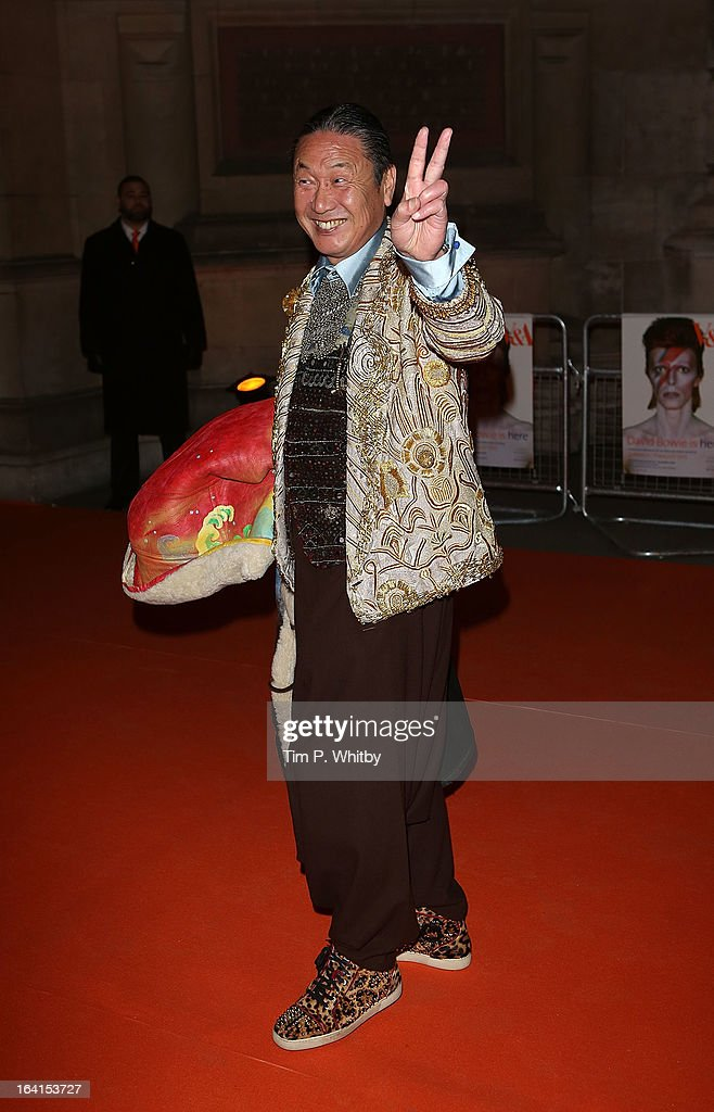 <a gi-track='captionPersonalityLinkClicked' href=/galleries/search?phrase=Kansai+Yamamoto&family=editorial&specificpeople=989497 ng-click='$event.stopPropagation()'>Kansai Yamamoto</a> attends the private view of 'David Bowie Is' at Victoria & Albert Museum on March 20, 2013 in London, England.
