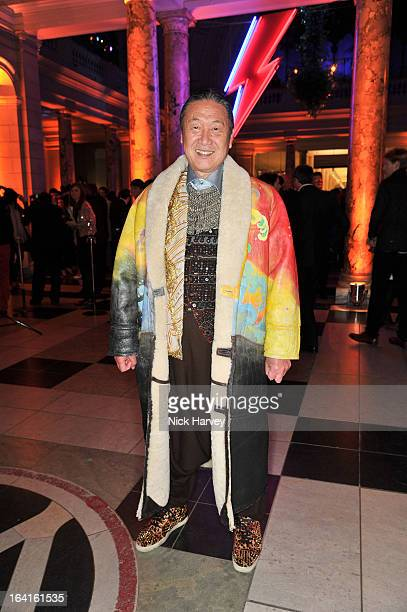 Kansai Yamamoto attends the private view of the 'David Bowie Is' exhibition at the Victoria And Albert Museum at Victoria Albert Museum on March 20...