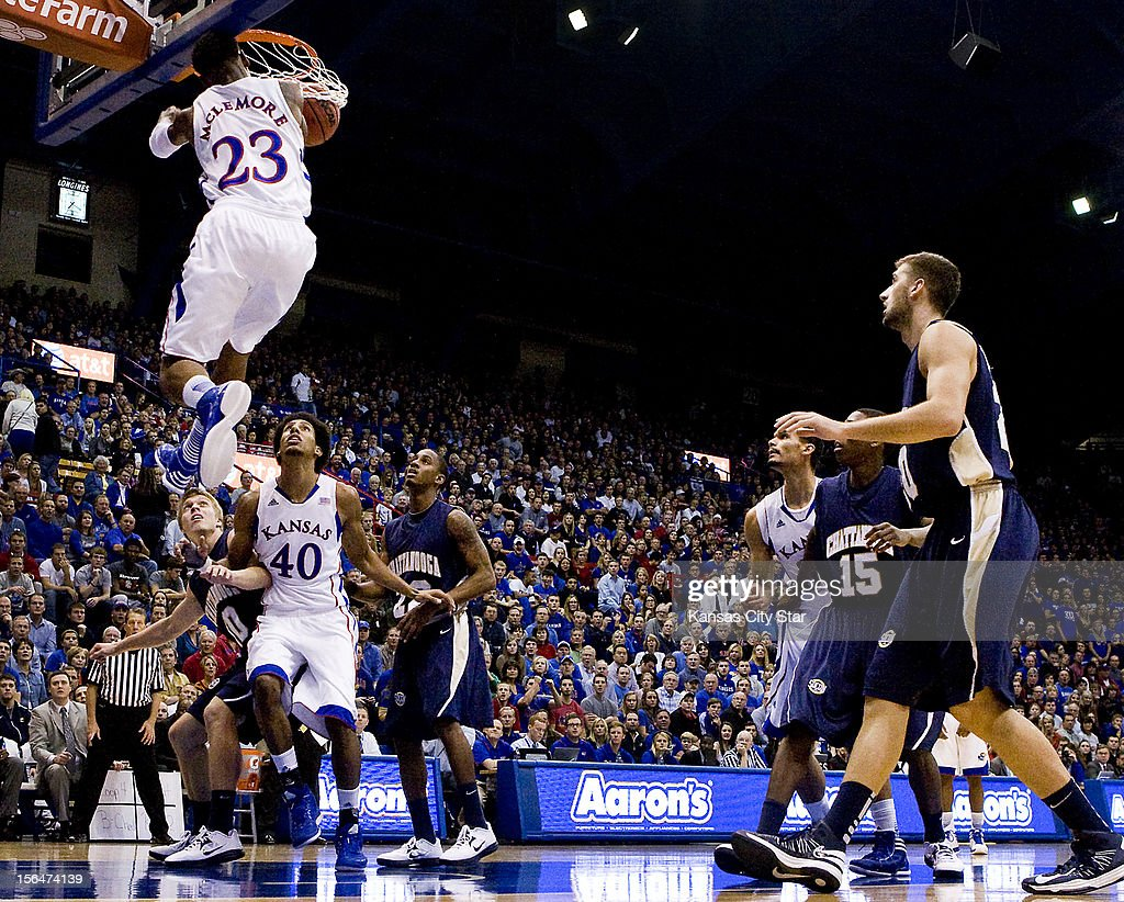 Kansas' Ben McLemore completes a half twist in mid-air for a two-hand dunk against Chattanooga in the first half at Allen Fieldhouse in Lawrence, Kansas, Thursday, November 15, 2012. Kansas defeated Chattanooga, 69-55.