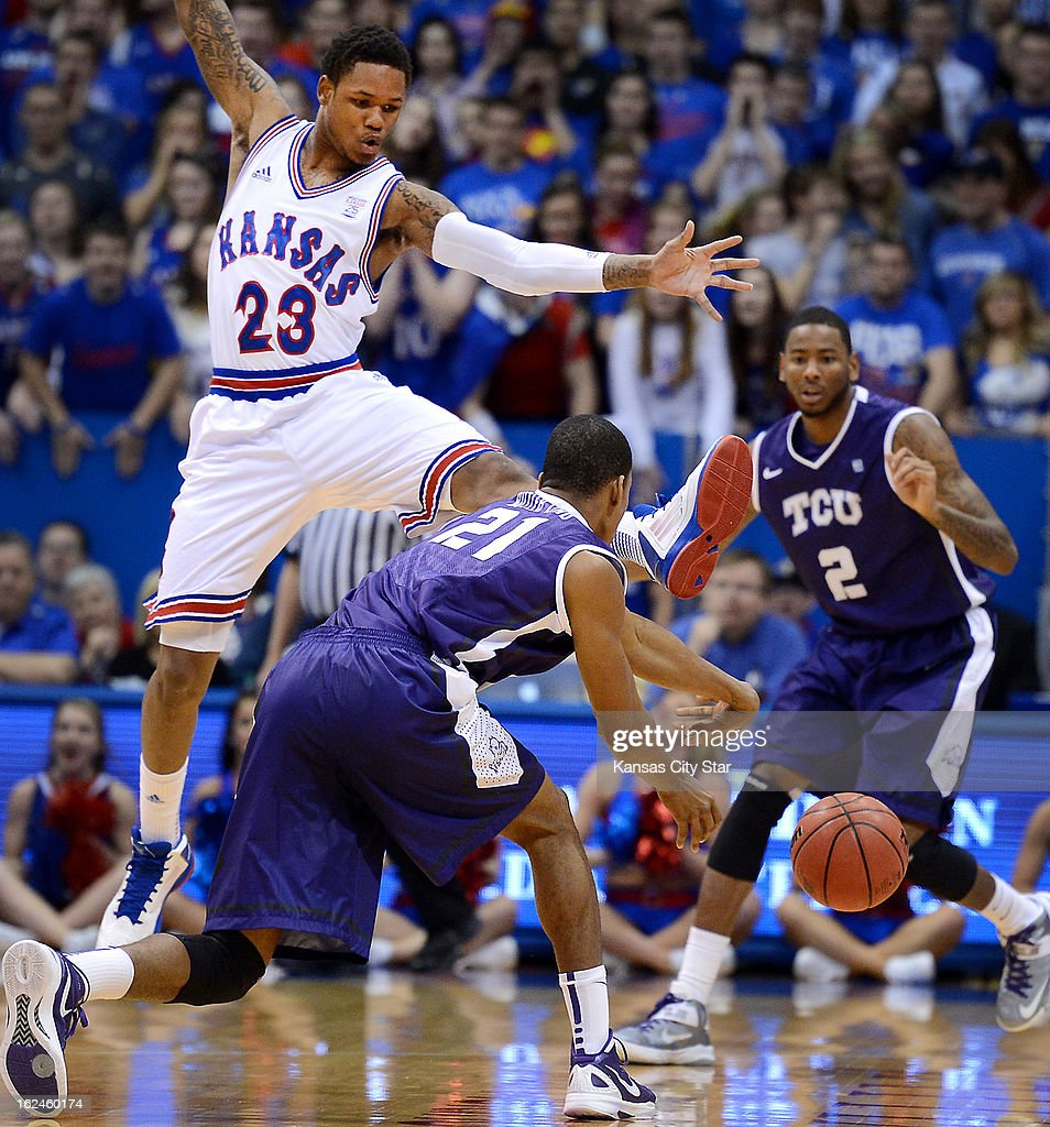 Kansas' Ben McLemore (23) put a foot in the face of Texas Christian's Nate Butler during the first half at Allen Fieldhouse in Lawrence, Kansas, on Saturday, February 23, 2013. Kansas blasted TCU, 74-48.