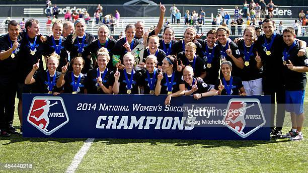 Kansas City celebrate after winning the National Women's Soccer League Championship 21 over Seattle Reign FC on August 31 2014 at Starfire Stadium in...
