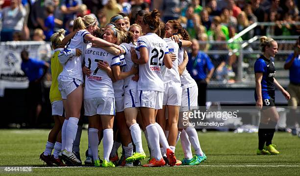 Kansas City celebrate after winning the National Women's Soccer League Championship 21 against Seattle Reign FC on August 31 2014 at Starfire Stadium...