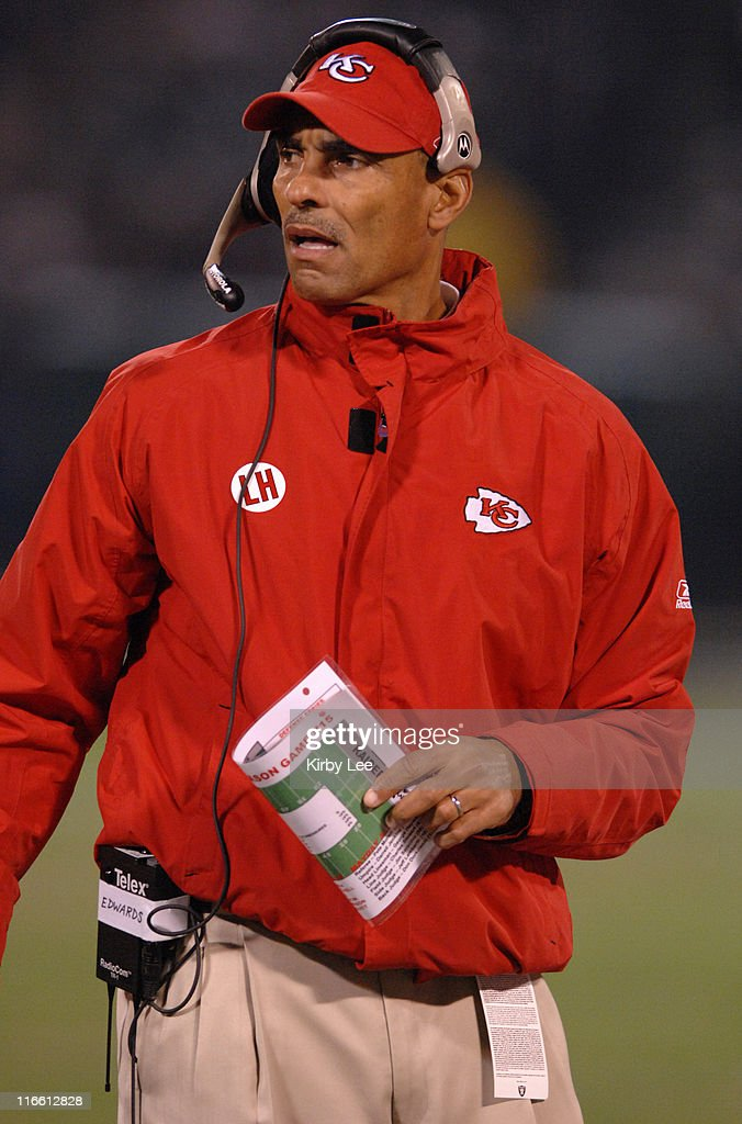 Kansas City Chiefs coach Herman Edwards watches from the sidelines during 209 victory over the Oakland Raiders at McAfee Coliseum in Oakland Calif on...