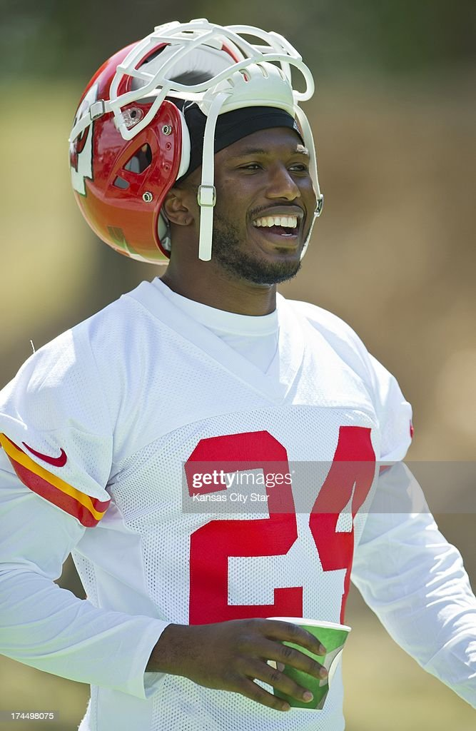 Kansas City Chiefs cornerback <a gi-track='captionPersonalityLinkClicked' href=/galleries/search?phrase=Brandon+Flowers+-+American+Football+Player&family=editorial&specificpeople=7270342 ng-click='$event.stopPropagation()'>Brandon Flowers</a> (24) smiles while walking to the team's first practice at training camp at Missouri Western State University in St. Joseph, Missouri, Friday, July 26, 2013.