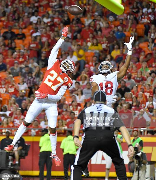 Kansas City Chiefs cornerback Kenneth Acker defends an incomplete pass in the end zone intended for San Francisco 49ers wide receiver DeAndre Smelter...