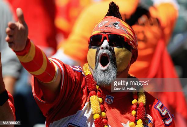 Kansas City Chiefs fan yells during the first half of a game against the Los Angeles Chargers at StubHub Center on September 24 2017 in Carson...