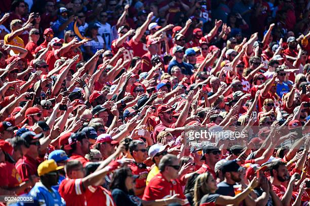 Kansas City Chiefs fans do the tomahawk chop before the game agains the San Diego Chargers at Arrowhead Stadium during the game on September 11 2016...