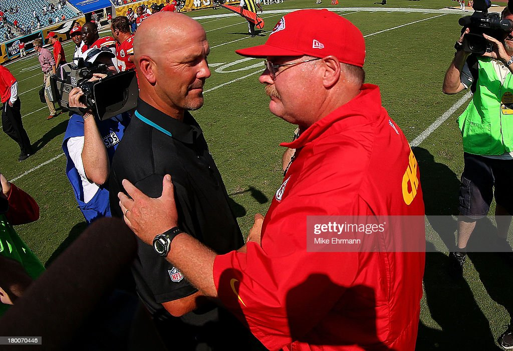 Kansas City Chiefs head coach Andy Reid shakes hands with Jacksonville Jaguars head coach <a gi-track='captionPersonalityLinkClicked' href=/galleries/search?phrase=Gus+Bradley&family=editorial&specificpeople=5443487 ng-click='$event.stopPropagation()'>Gus Bradley</a> during a game against the Jacksonville Jaguars at EverBank Field on September 8, 2013 in Jacksonville, Florida.
