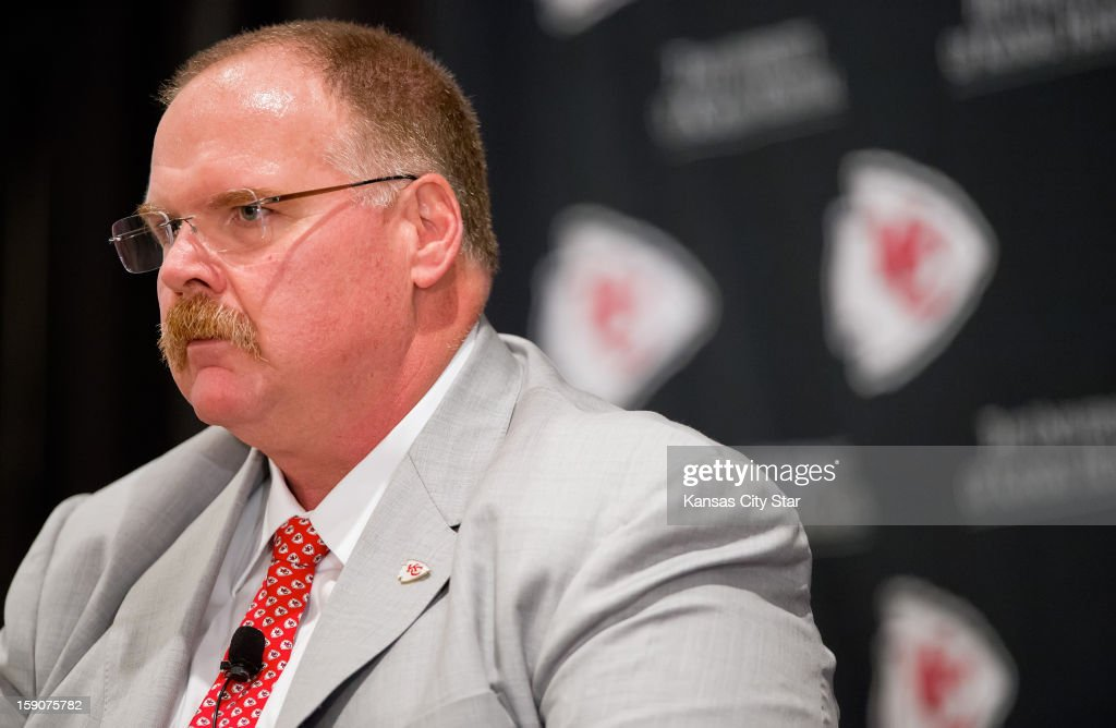 Kansas City Chiefs head coach Andy Reid speaks to reporters during his first news conference on Monday, January 7, 2013, at Arrowhead Stadium in Kansas City, Missouri, as head coach of the AFC West team, hired to replace former head coach Romeo Crennel.