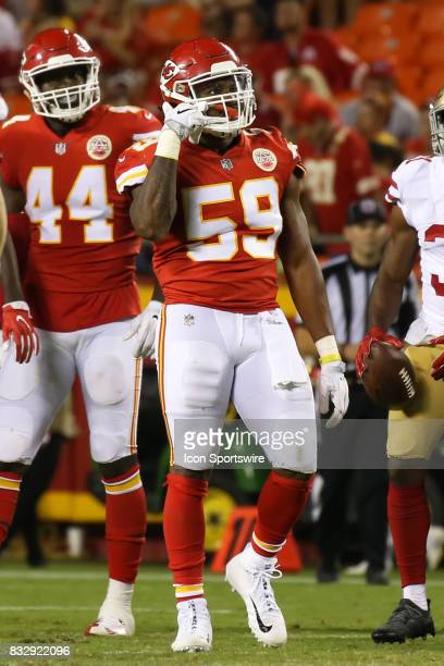 Kansas City Chiefs inside linebacker Justin MarchLillard celebrates after a defensive stop in the third quarter of an NFL week 1 preseason game...