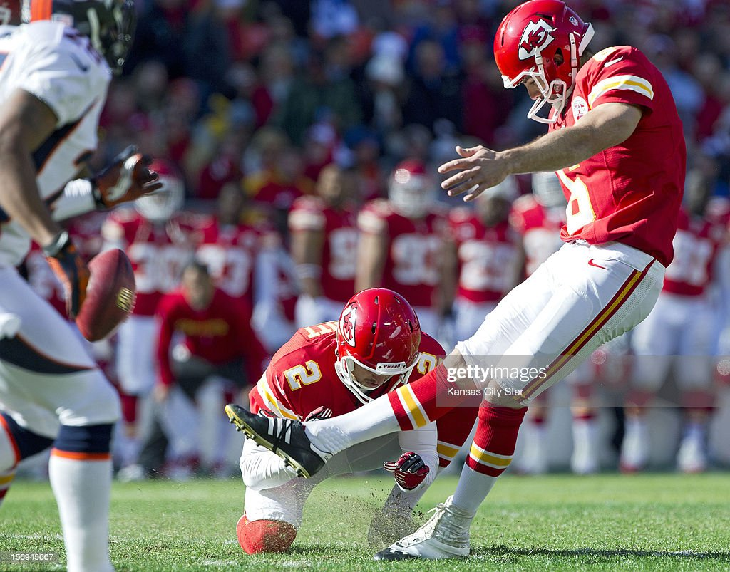 Kansas City Chiefs kicker Ryan Succop (6) connects on his first field goal of the day in the first quarter at Arrowhead Stadium on Sunday, November 25, 2012, in Kansas City, Missouri. The Denver Broncos defeated the Kansas City Chiefs, 17-9.