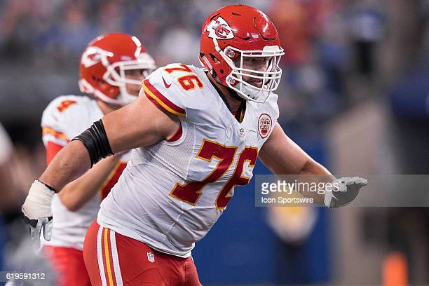 Kansas City Chiefs offensive lineman Laurent DuvernayTardif moves outside for a block during the NFL game between the Kansas City Chiefs and...