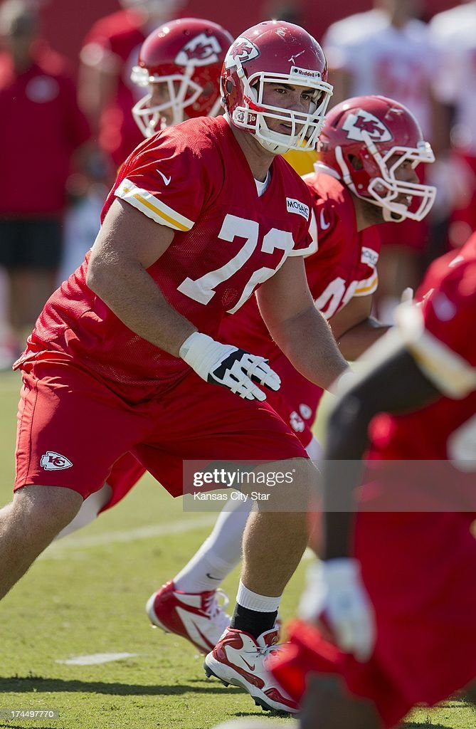 Kansas City Chiefs offensive tackle Eric Fisher (72), the No. 1 overall pick in the 2013 NFL Draft, looks for defensive players to block during Chiefs training camp at Missouri Western State University in St. Joseph, Missouri, Friday, July 26, 2013.