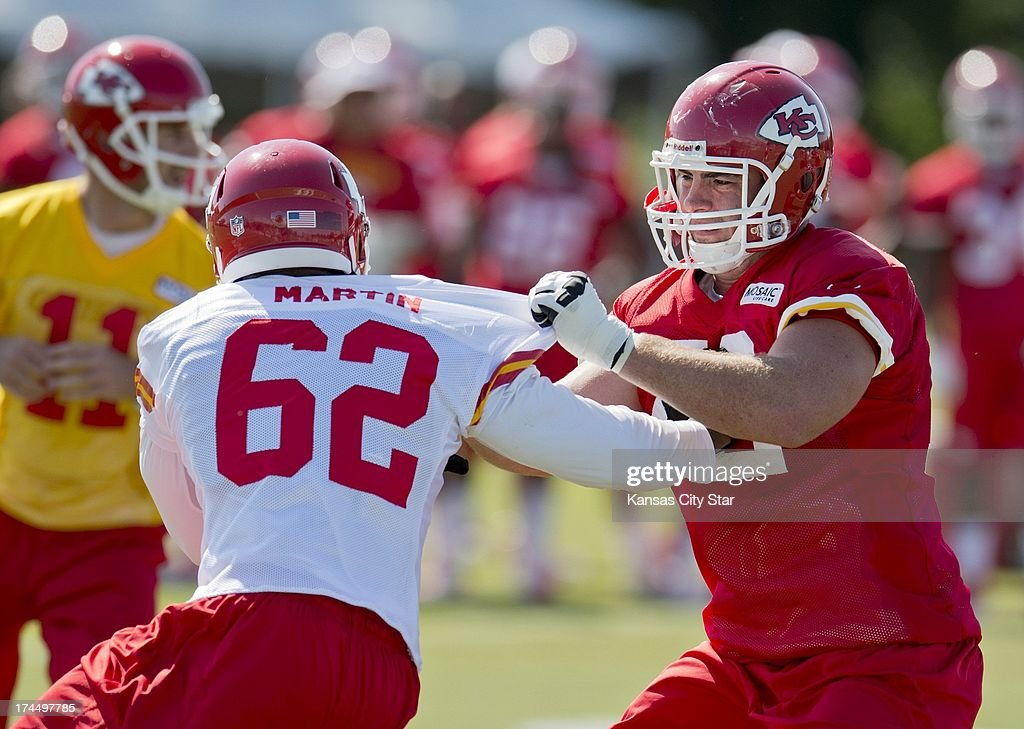 Kansas City Chiefs offensive tackle Eric Fisher (72), the No. 1 overall pick in the 2013 NFL Draft, blocks teammate linebacker Josh Martin (62) during Chiefs training camp at Missouri Western State University in St. Joseph, Missouri, Friday, July 26, 2013.