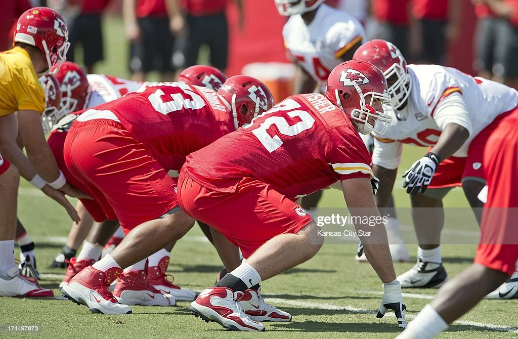 Kansas City Chiefs offensive tackle Eric Fisher (72), the No. 1 overall pick in the 2013 NFL Draft, lines up during Chiefs training camp at Missouri Western State University in St. Joseph, Missouri, Friday, July 26, 2013.