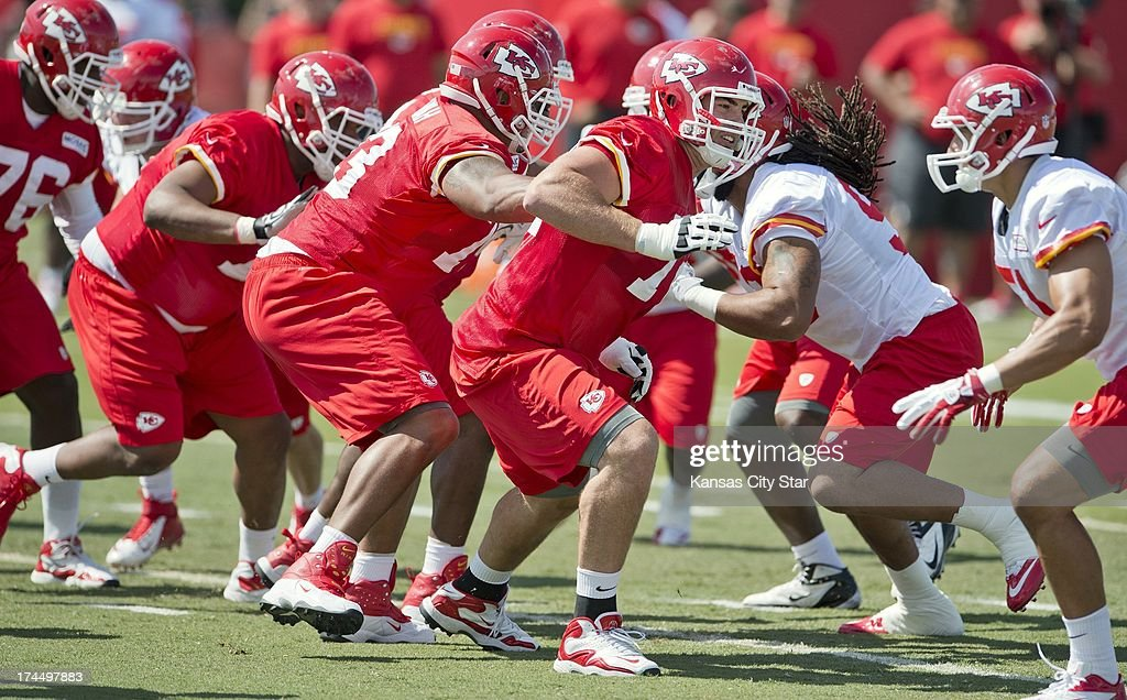 Kansas City Chiefs offensive tackle Eric Fisher (72), the No. 1 overall pick in the 2013 NFL Draft, looks for defensive teammates to block during Chiefs training camp at Missouri Western State University in St. Joseph, Missouri, Friday, July 26, 2013.