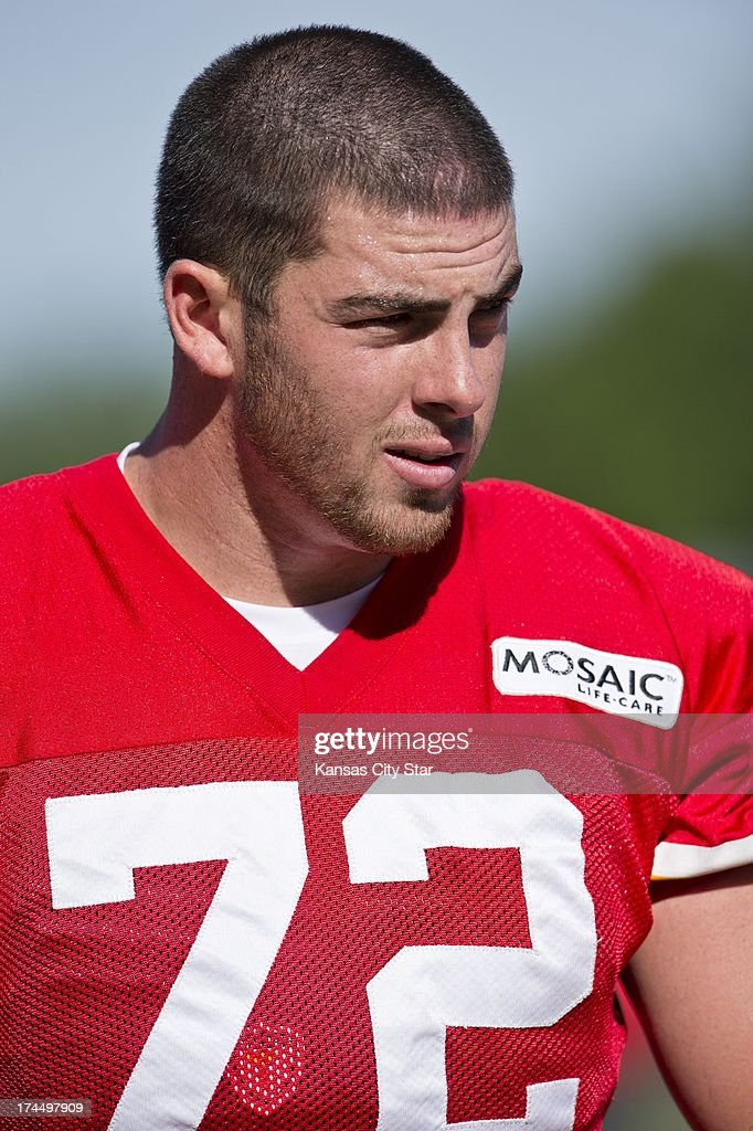 Kansas City Chiefs offensive tackle Eric Fisher (72), the No. 1 overall pick in the 2013 NFL Draft, walks off the field after practice at Chiefs training camp at Missouri Western State University in St. Joseph, Missouri, Friday, July 26, 2013.