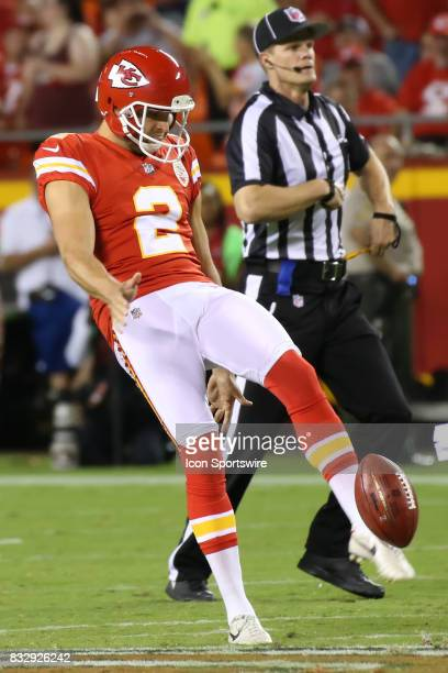 Kansas City Chiefs punter Dustin Colquitt punts in the first quarter of an NFL week 1 preseason game between the San Francisco 49ers and the Kansas...