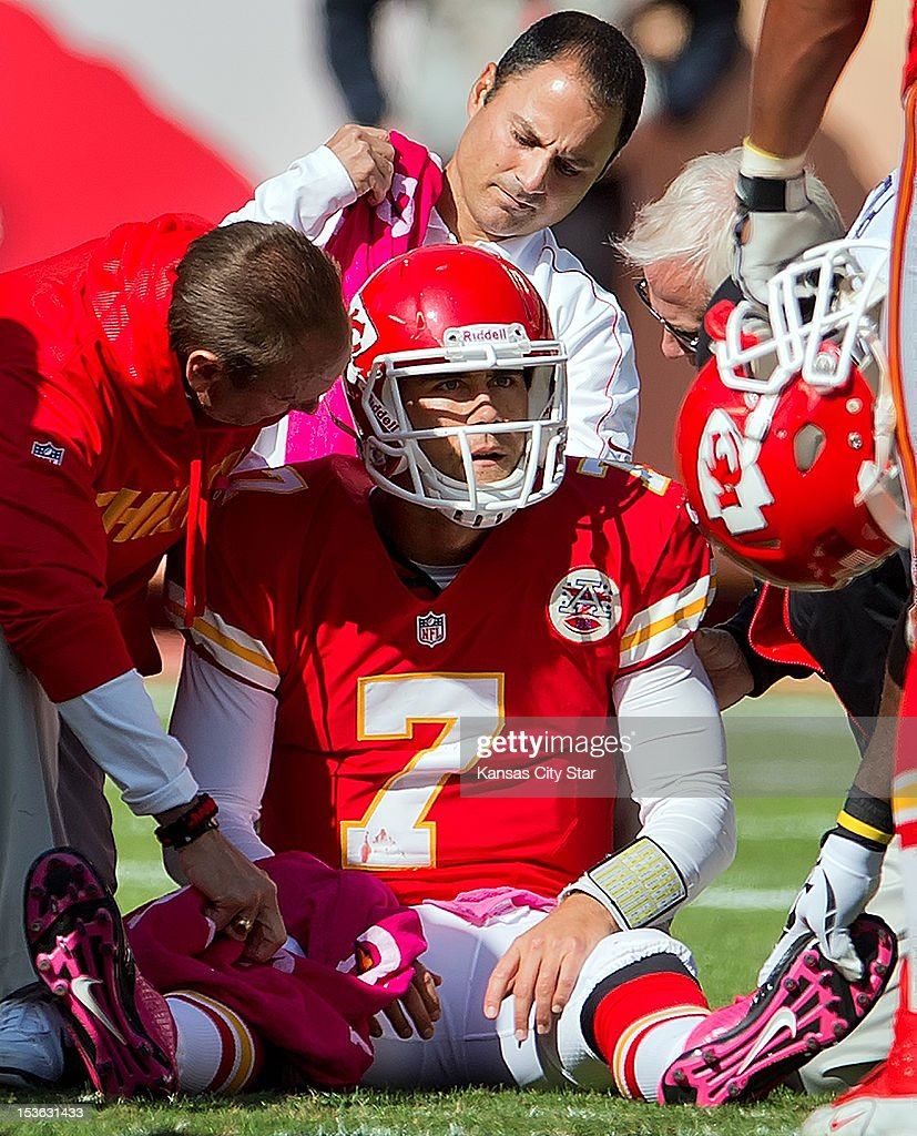 Kansas City Chiefs quarterback Matt Cassel (7) sat on the turf with medical trainers after Cassel was hit on a play by Baltimore Ravens defensive end Haloti Ngata (92) in the fourth quarter during NFL action on October 7, 2012 at Arrowhead Stadium in Kansas City, Missouri. Cassel left the game and the Ravens won 9-6.