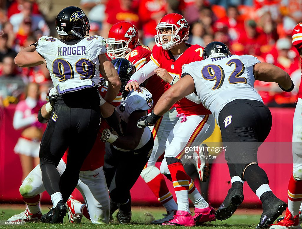 Kansas City Chiefs quarterback Matt Cassel (7) was injured on his fourth quarter play after a hit by Baltimore Ravens defensive end Haloti Ngata (92) during NFL action on October 7, 2012, at Arrowhead Stadium in Kansas City, Missouri. The Baltimore Ravens defeated the Kansas City Chiefs, 9-6.