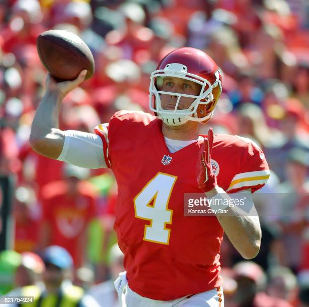 Kansas City Chiefs quarterback Nick Foles throws in the second quarter against the Seattle Seahawks during preseason action on Saturday Aug 13 at...